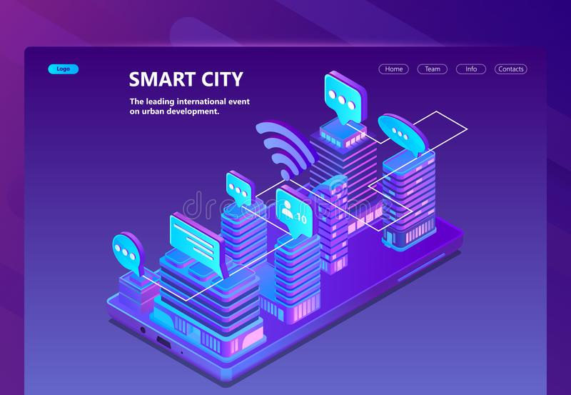 Vector site with 3d isometric smart city. Smart city vector site with 3d isometric smart megapolis, city in violet colors. Network portal with button for urban royalty free illustration