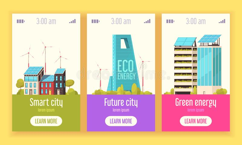 Smart City Vertical Banners vector illustration