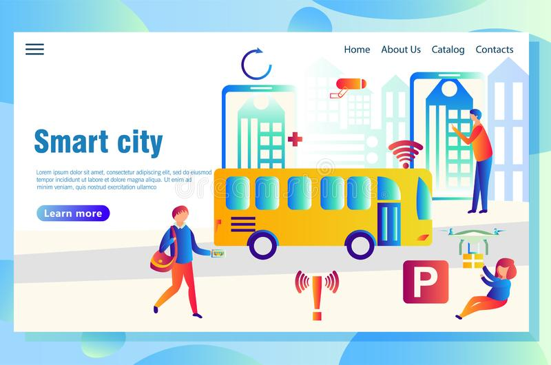 Smart city web page concept. Modern technological smart city web page concept, with people using high-tech devices to find necessary data vector illustration