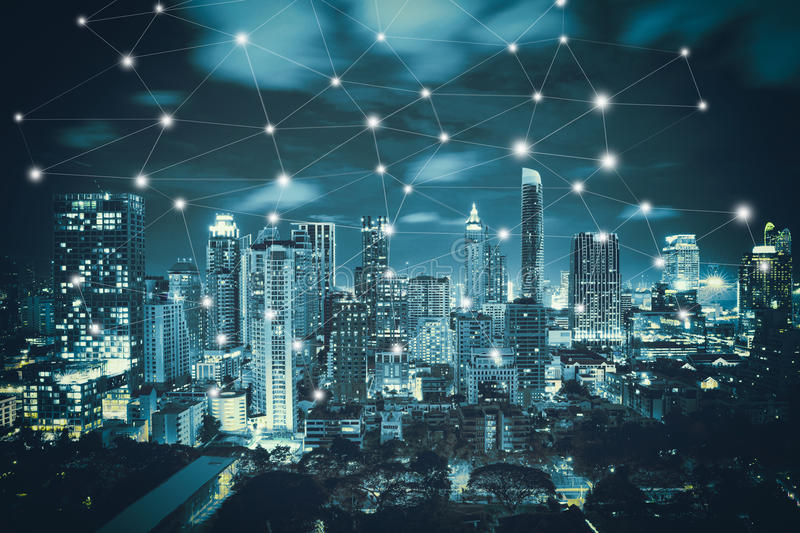 Smart city and wireless royalty free stock image