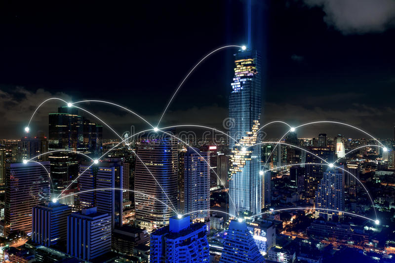 Smart city and wireless communication network, business district. With office building, abstract image visual, internet of things concept stock images