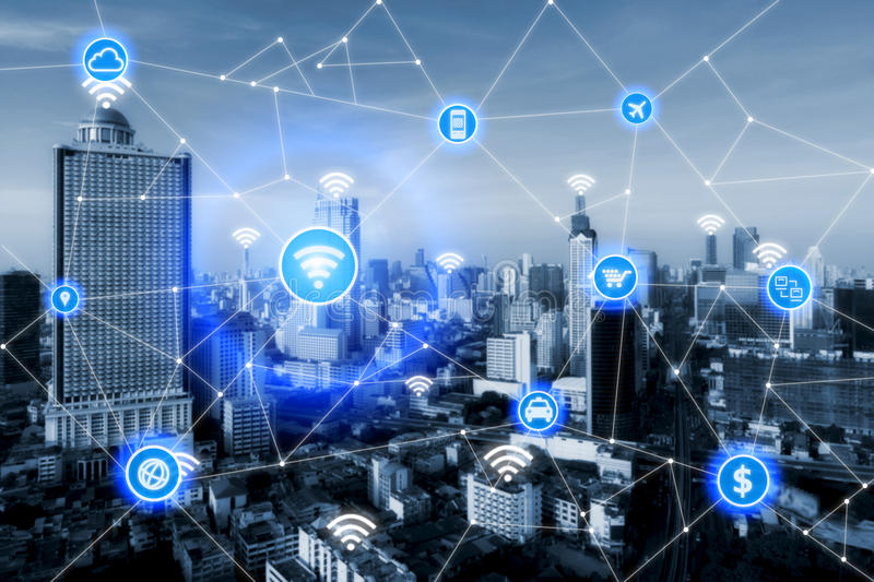 Smart city and wireless communication network, business district royalty free stock images