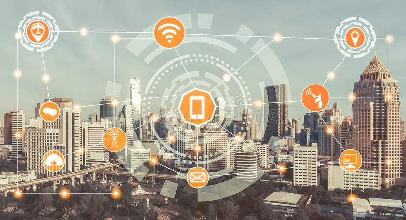 Smart city and wireless communication network. Concept - Internet of Things ( IOT ), Information Communication Technology ( ICT stock image