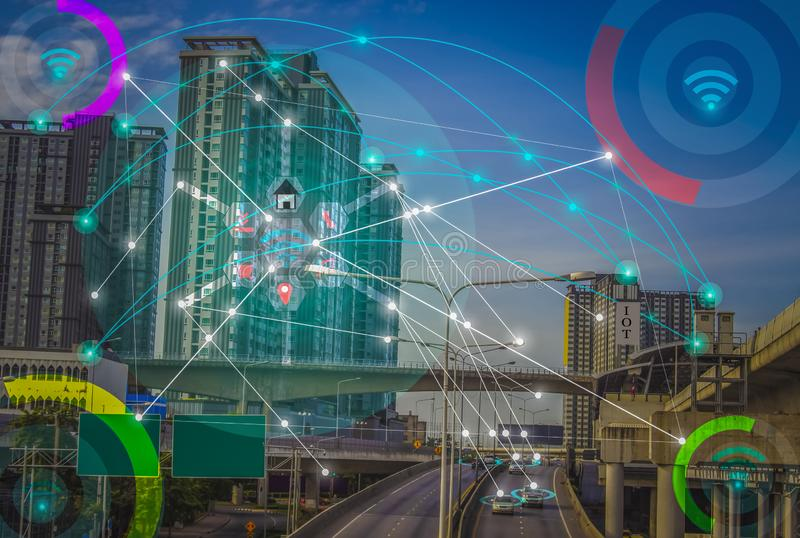 Smart city and wireless communication network concept IOT (Internet Of Thing). Smart city and wireless communication network concept IOT & x28;Internet stock photography
