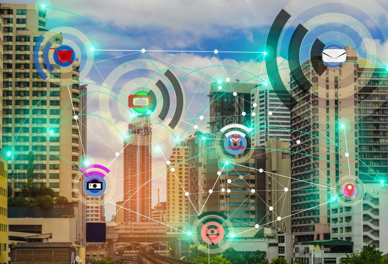 Smart city and wireless communication network concept IOT Internet Of Thing, with the convenience. Future of modern world with boundless communication stock photo