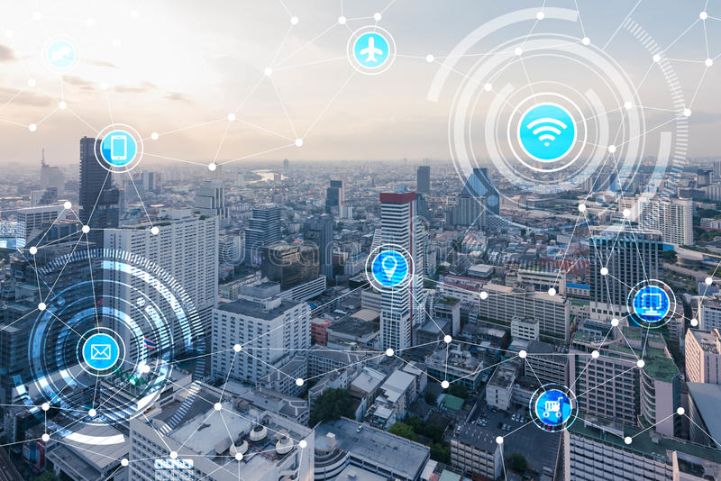 Smart city and wireless communication network, IoTInternet of T royalty free stock image