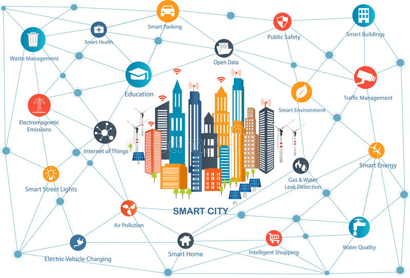 Smart City and wireless communication network stock illustration
