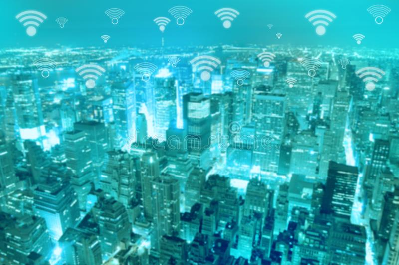 Smart city and wireless communication network. Business district with office building, abstract image visual, internet of things concept royalty free stock photos