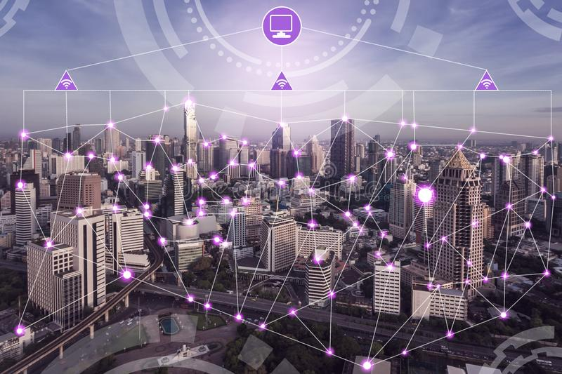 Smart city wireless network. Internet of things royalty free stock photography