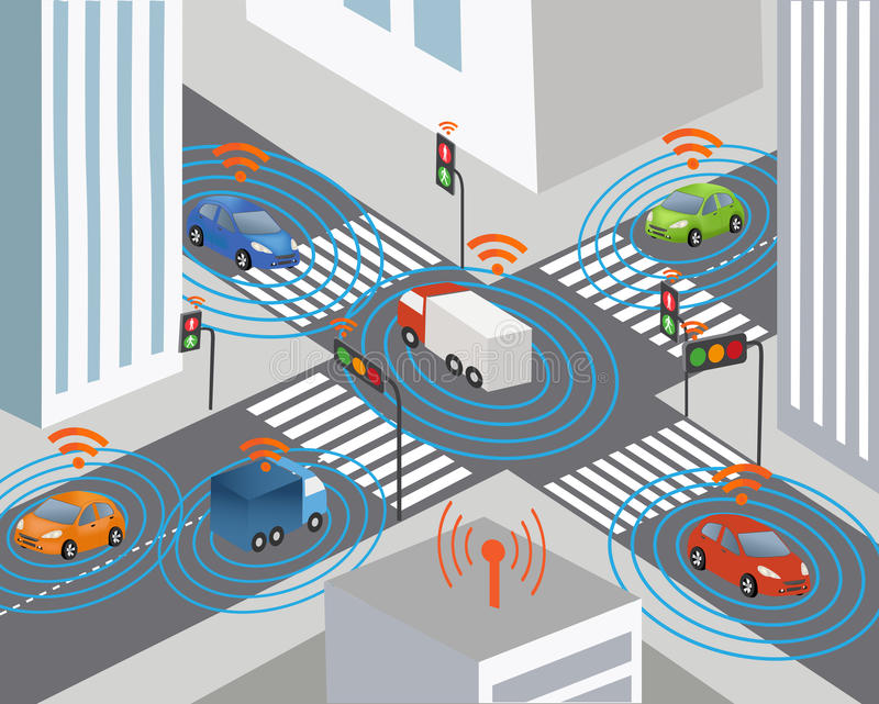 Smart city and Wireless network of vehicle royalty free illustration