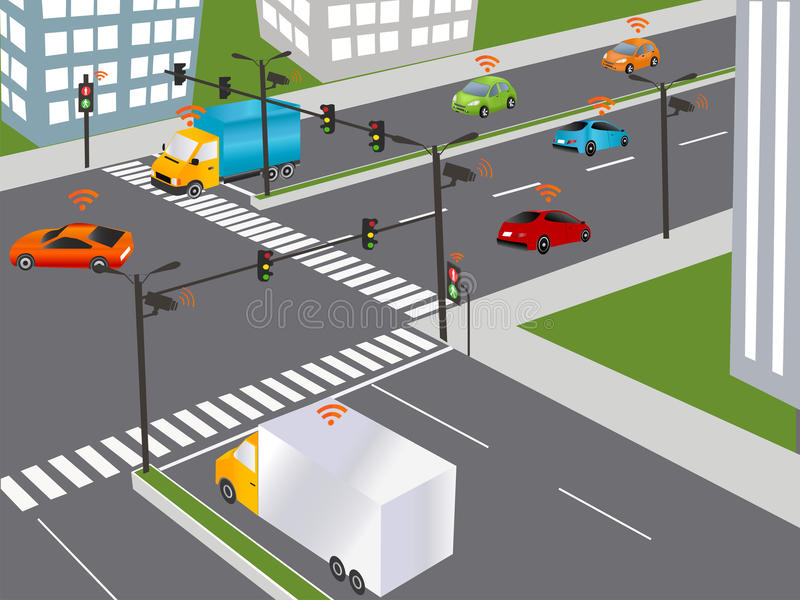 Smart city and Wireless network of vehicle. Communication that connects cars to devices on the road, such as traffic lights, sensors, or Internet gateways stock illustration
