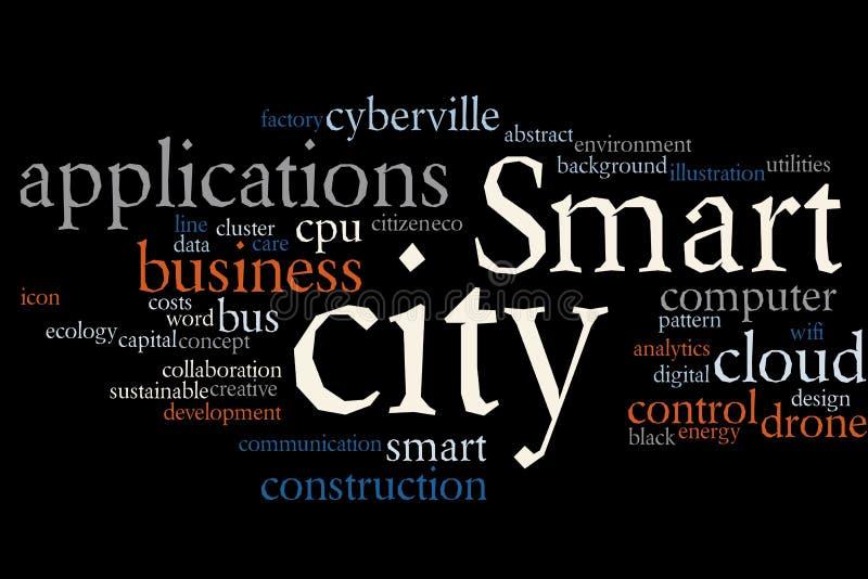Smart City-woordwolk royalty-vrije illustratie