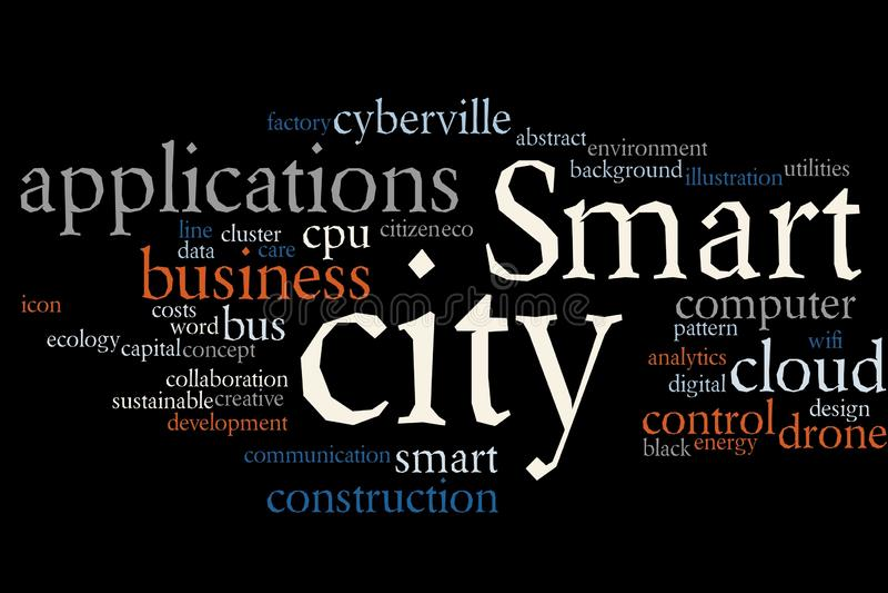 Smart City-Wortwolke lizenzfreie abbildung