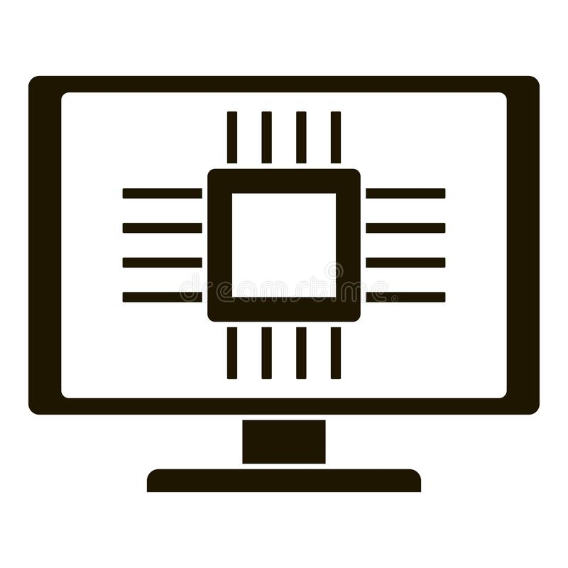 Smart computer processor icon, simple style vector illustration