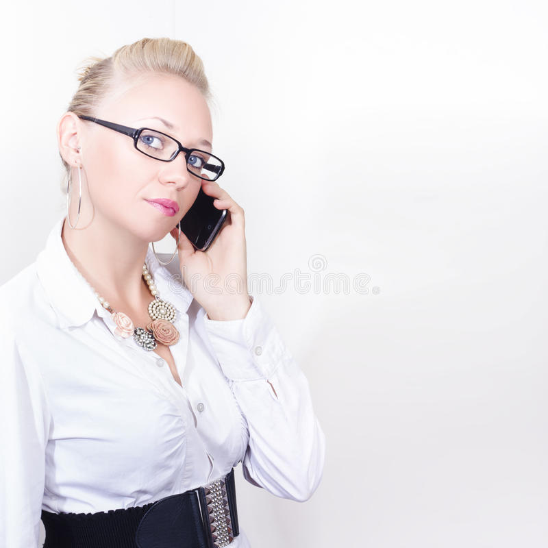 Download Business Woman Networking On Corporate Phone Call Royalty Free Stock Image - Image: 29721976