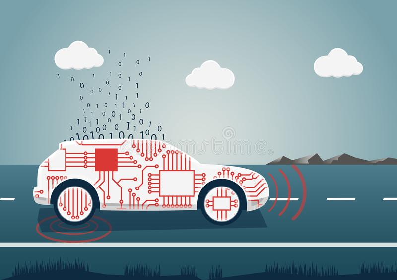 Smart connected car illustration. Car icon with sensors and big data upload as example for digital mobility.  stock illustration