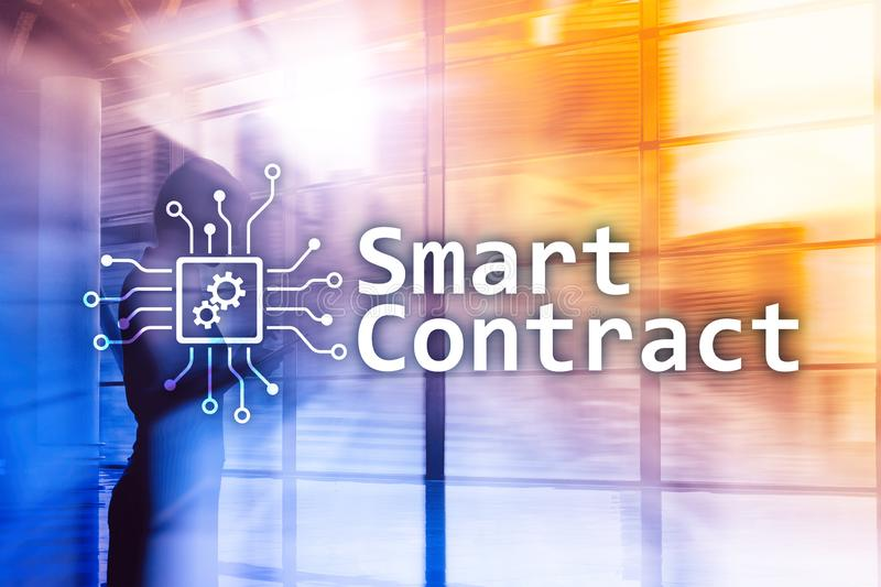 Smart contract, blockchain technology in business, finance hi-tech concept. Skyscrapers background.  royalty free stock photos