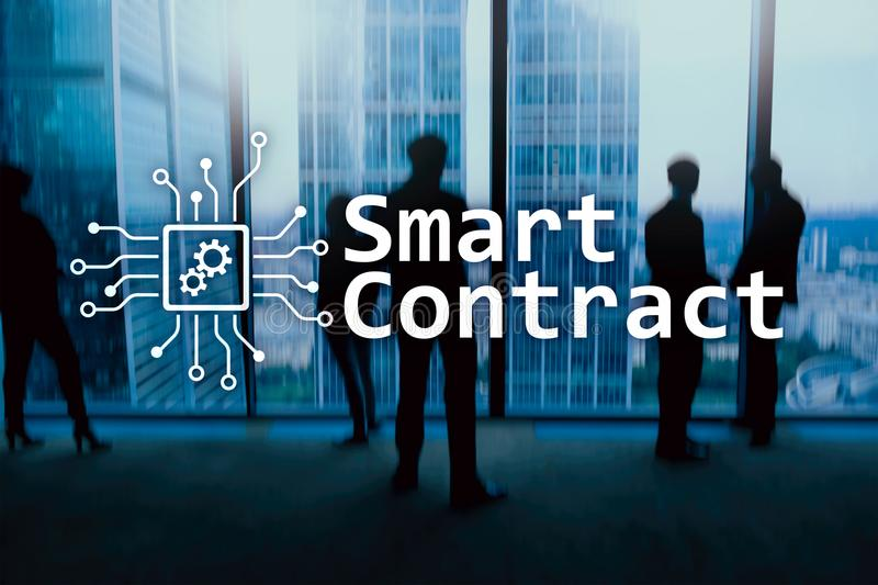 Smart contract, blockchain technology in business, finance hi-tech concept. Skyscrapers background.  stock photography