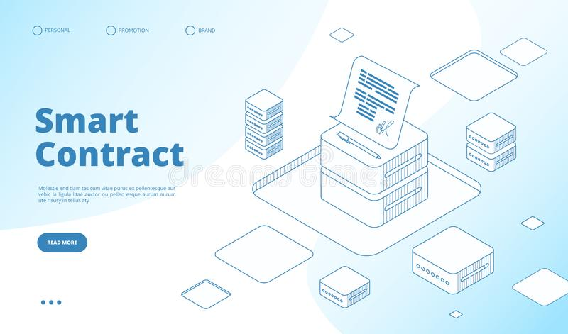 Smart contract concept. Ethereum cryptography technology. Contractor agreement with digital signature vector isometric stock illustration