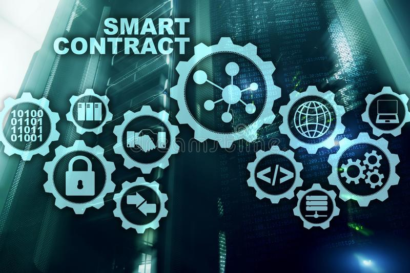 Smart Contract on modern server room background. Business Technology.  stock photo