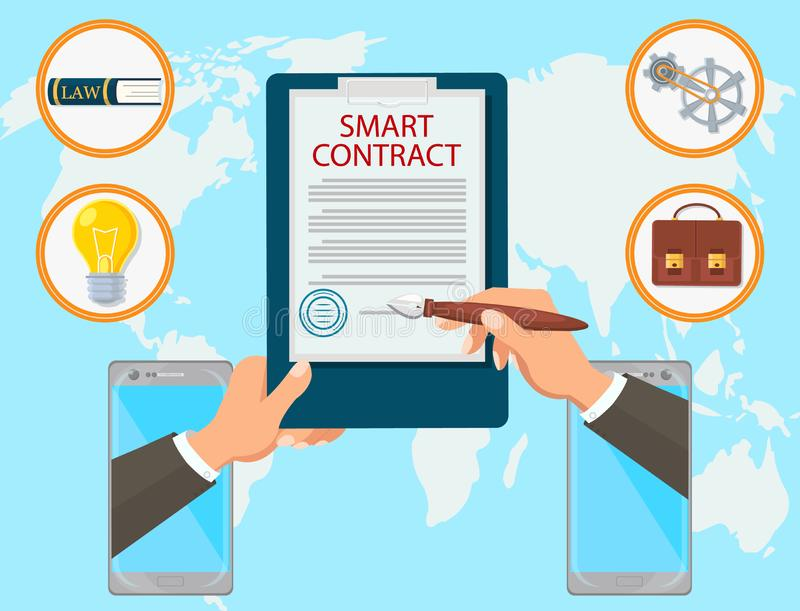 Smart Contract Vector Flat Law Firm Online Mobile. Smart Contract Vector Flat Law Firm. Signing of Contract Online is Sealed. Certified Study on Energy Capacity vector illustration
