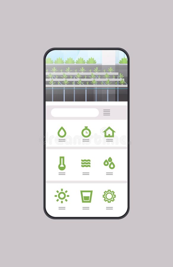 Smart control farming system mobile application organic hydroponic green plants row cultivation farm greenhouse. Technology smartphone screen vertical vector royalty free illustration