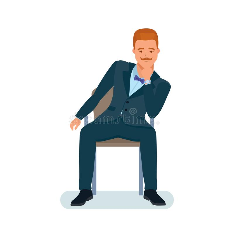 Man sits on chair, holds chin with hand, listens information. Smart creative man cartoon character. Man in beautiful business suit, businessman, sits on chair vector illustration