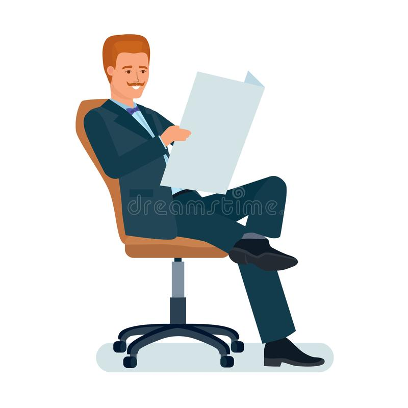 Businessman sitting in chair holding newspaper in hands and reading. stock illustration