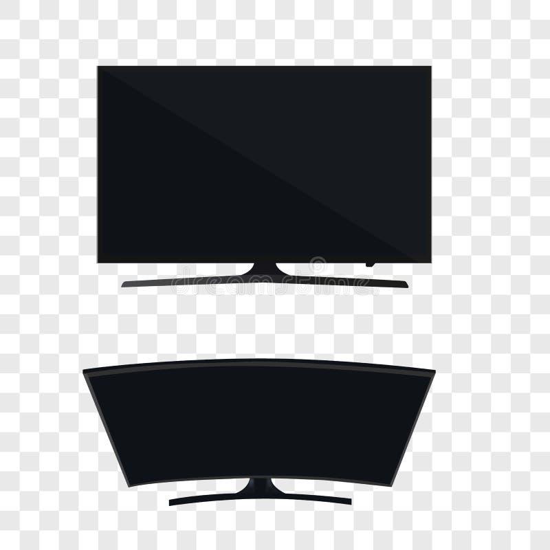 Smart curvó el monitor llevado TV aislado en fondo transparente libre illustration