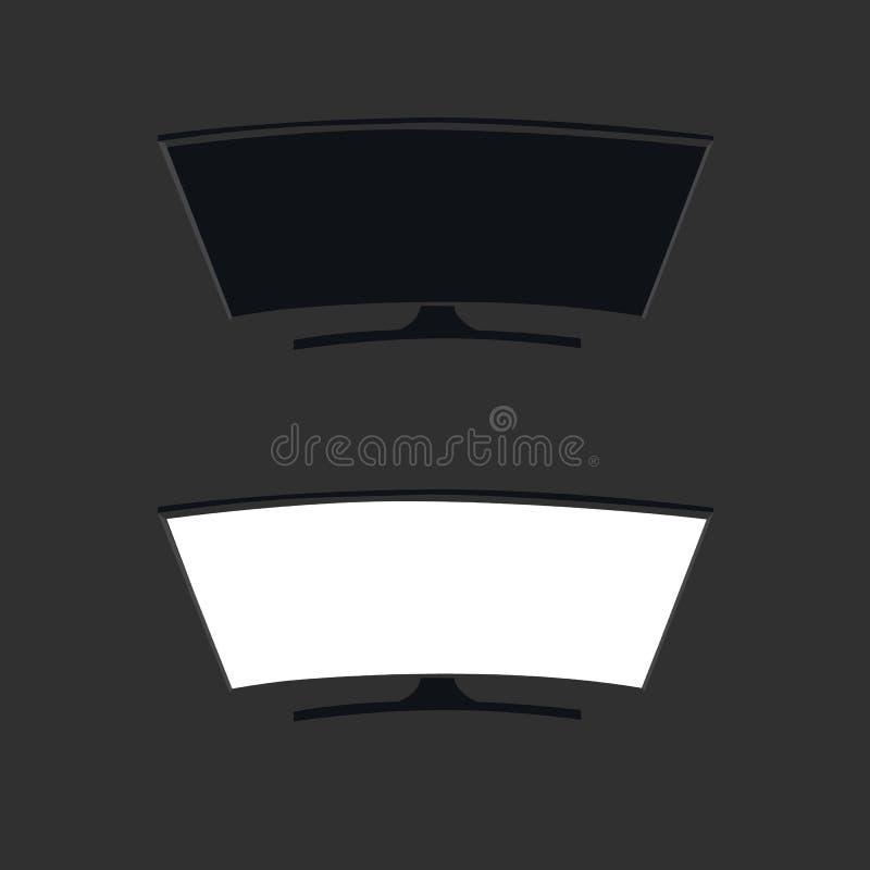 Smart curved tv led monitor isolated on black background. Smart curved tv led monitor isolated vector illustration