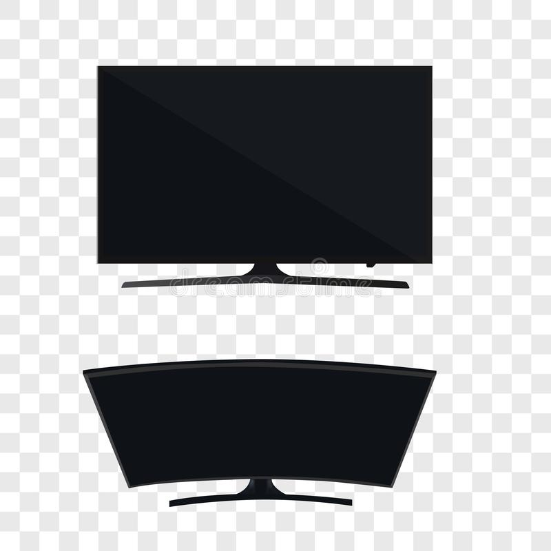 Smart curved tv led monitor isolated on transparent background. Smart curved tv led monitor isolated royalty free illustration