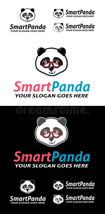 Smart Cute Panda With Text Stock Vector Illustration Of Clever