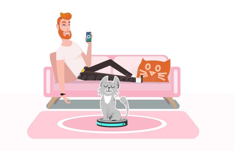 Smart dammsugare Katten spelar med en dammsugare stock illustrationer