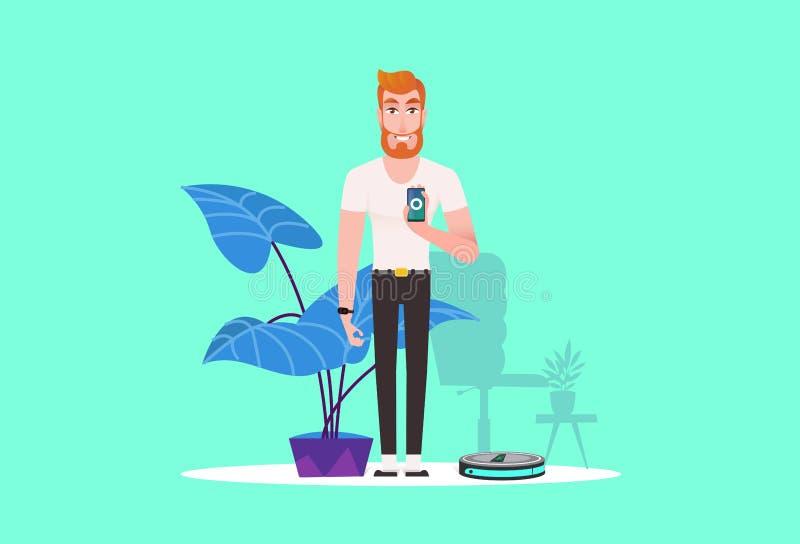 Smart dammsugare på blått royaltyfri illustrationer