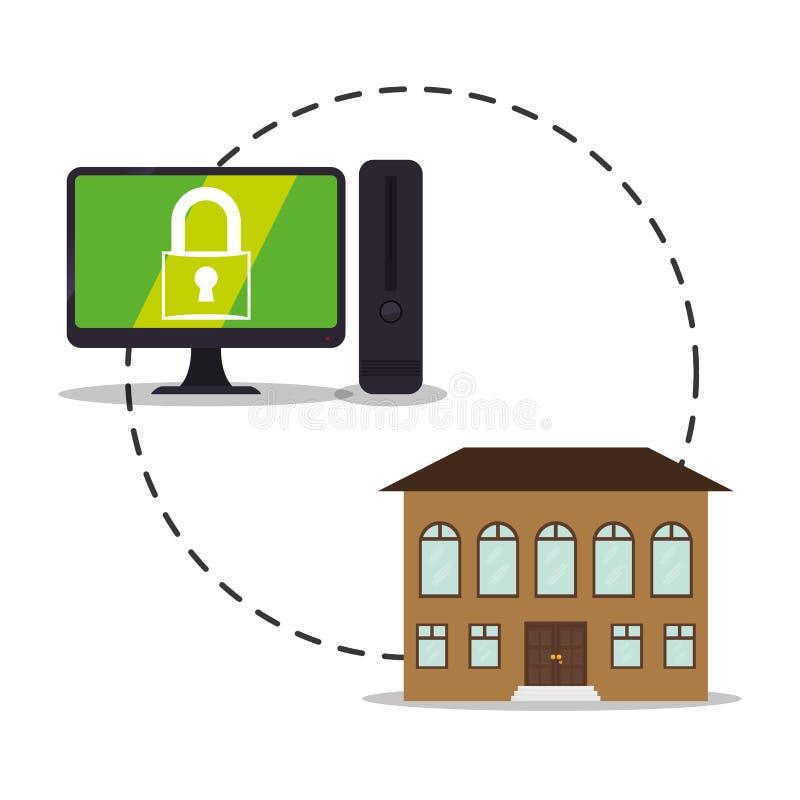 smart design för cyber för kontroll för hem- säkerhet för system vektor illustrationer