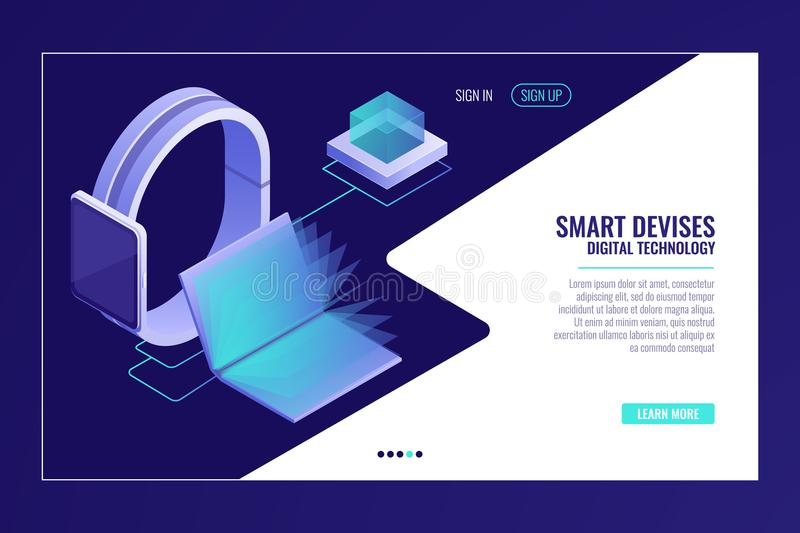 Smart devices, information mobility, smartwatch with open electronic book isometric. Vector royalty free illustration