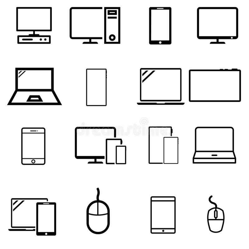 Smart devices vector icons set. Smart devices icon. Gadgets illustration symbol collection.  computer equipment and electronics si royalty free illustration
