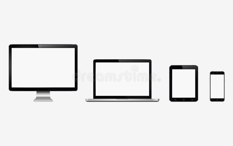 Smart digital apparatuppsättning Datorbildskärm, bärbar dator, minnestavla, mobiltelefon vektor illustrationer