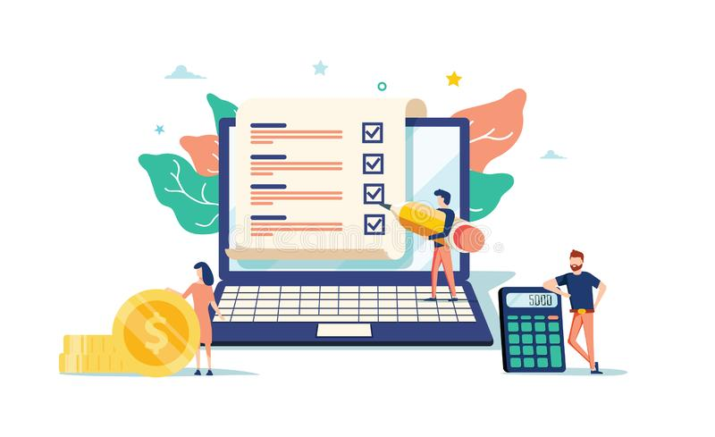 Smart digital contract vector illustration concept, businessman signing online contract agreement with laptop. Can use for, landing page, template, ui web stock illustration