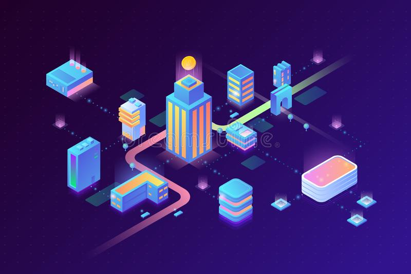 Smart Digital Virtual City and Stream Data Center Blockchain Technology Isometric vector illustration concept royalty free illustration