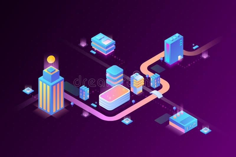 Smart Digital Virtual City and Stream Data Center Blockchain Technology Isometric vector illustration concept royalty free illustration