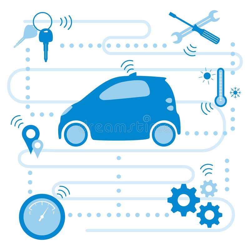 Smart driverless car New transport technologies. Smart self-driving car transfer of information about its condition: location, amount of fuel, temperature stock illustration