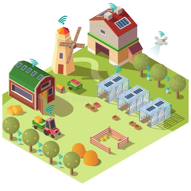 Smart ecological farming isometric vector concept vector illustration