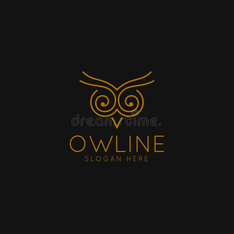 Smart Education logo with Owl Symbol and line art concept stock illustration