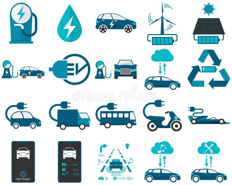 Smart en elektrisch voertuig in kleur stock foto