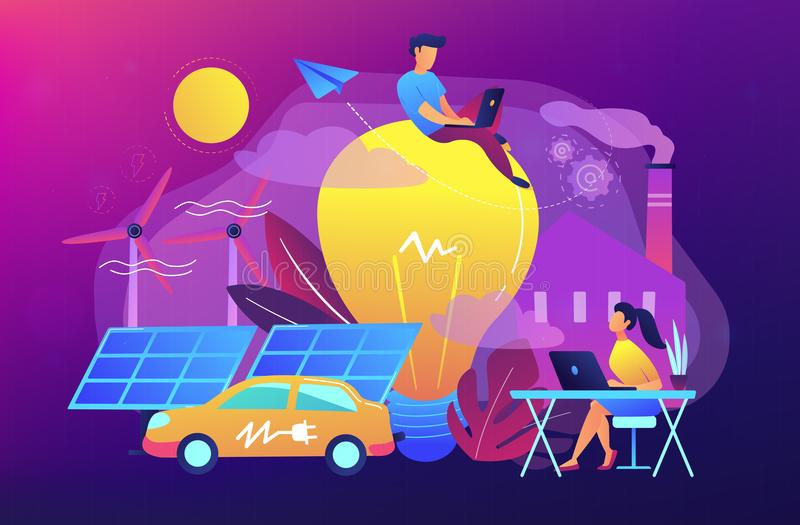 Smart energy and power systems IoT smart city concept. vector illustration