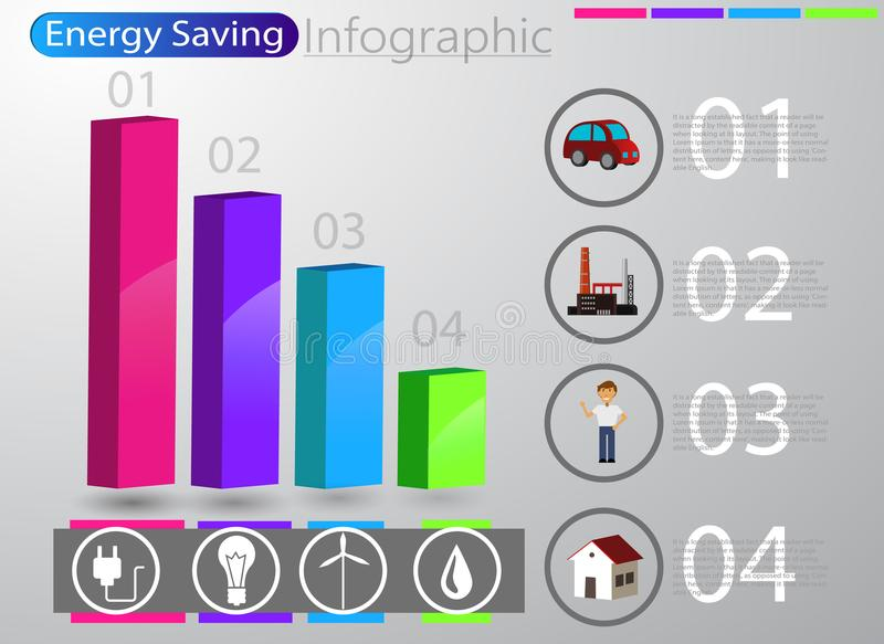 Smart energy use infographic concept royalty free illustration