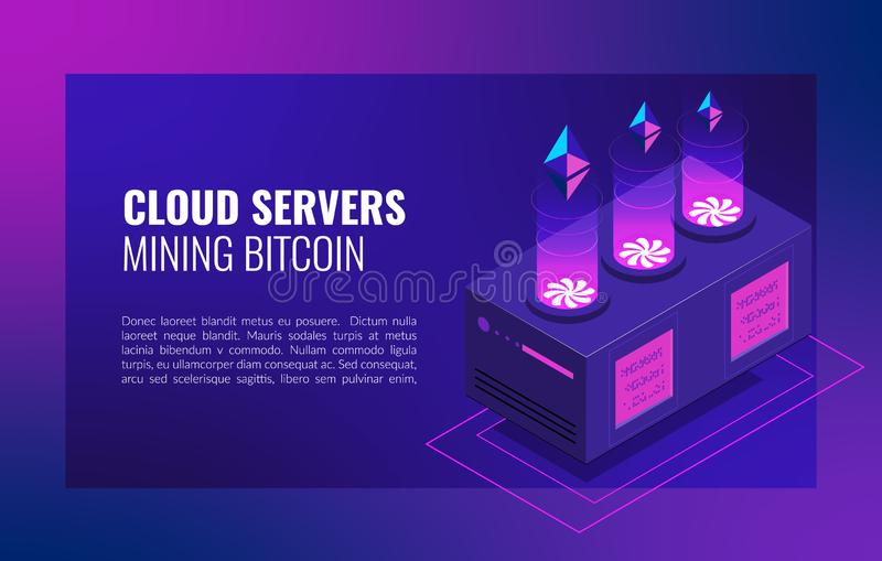 Smart Ethereum Mining farm. Cryptocurrency and blockchain network business isometric vector illustration royalty free stock images