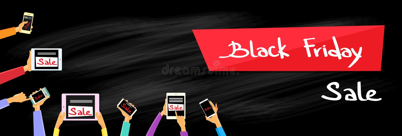Smart för handminnestavladator telefon Black Friday stock illustrationer