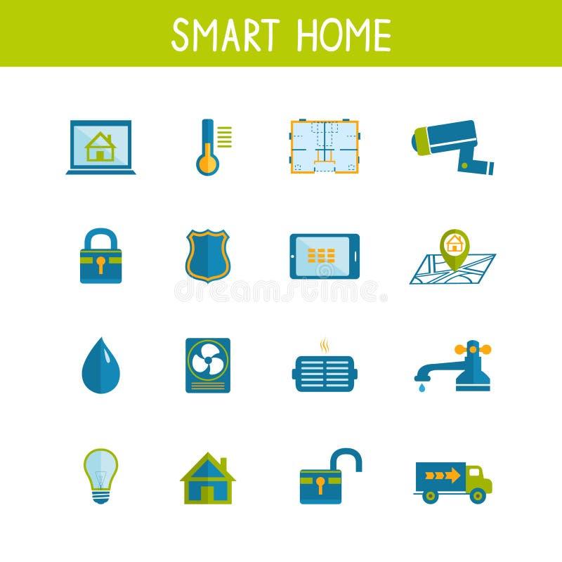 Smart för teknologisymboler för hem- automation uppsättning vektor illustrationer